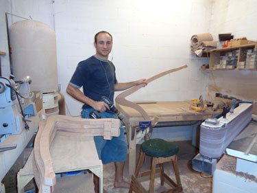 Anthony sanding Bass Minstrel Harps