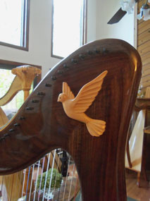 Large dove on a 38-Regency Robusto Harp