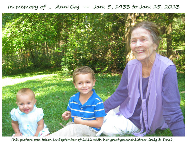 In memory of Ann Gaj