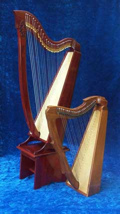 Studio harp and Limerick harp